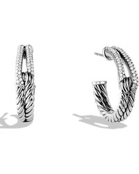 David Yurman - 'labyrinth' Hoop Earrings With Diamonds - Lyst