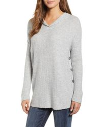 Caslon - Caslon Side Button Hooded Sweater - Lyst
