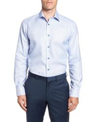 David Donahue - Trim Fit Check Dress Shirt - Lyst