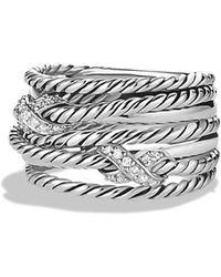 David Yurman - Double 'x Crossover' Ring With Diamonds - Lyst