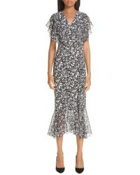 Michael Kors - Painterly Floral Belted Ruffle Trim Dress - Lyst
