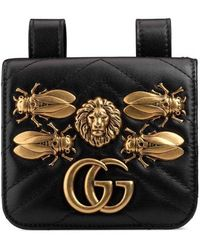 Gucci - Gg Marmont 2.0 Animal Stud Matelasse Leather Pouch - - Lyst