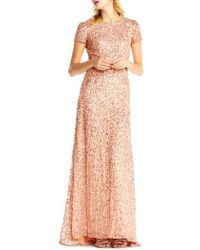 Adrianna Papell | Short Sleeve Sequin Mesh Gown | Lyst