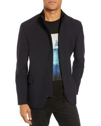 906a883a8 Ted Baker  bartley  Faux Fur Collar Zip Front Jacket in Blue for Men ...