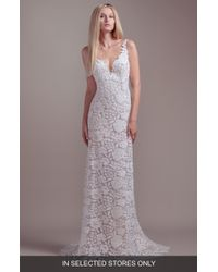 81f6208d BLUSH BY HAYLEY PAIGE Nessy Embroidered Trumpet Gown in White - Lyst