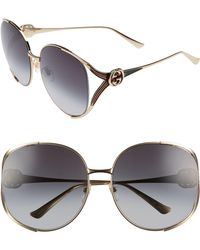 a53de46131 Gucci Oversized Gold Temple Wayfarer Sunglasses in Black - Lyst