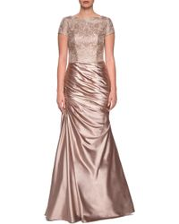 La Femme - Embroidered Gown - Lyst