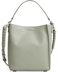 AllSaints - Small Kathi Studded North/south Leather Tote - Lyst