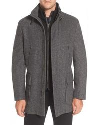 Cole Haan | Wool Blend Car Coat With Removable Knit Bib | Lyst