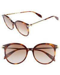 Alexander McQueen - 54mm Gradient Lens Round Sunglasses - Lyst
