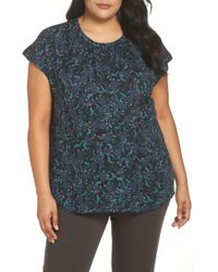 Sejour - Gathered Neck Button Down Top - Lyst