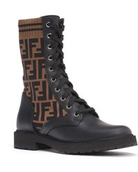 Fendi - Rockoko Logo Sock Lace-up Combat Boot - Lyst
