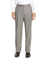 Berle - Pleated Stretch Houndstooth Wool Trousers - Lyst