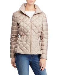 Lauren by Ralph Lauren - Packable Quilted Down Jacket, Beige - Lyst