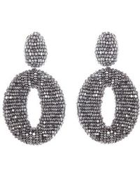 Oscar de la Renta - Beaded Frontal Hoop Earrings - Lyst