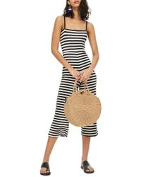 TOPSHOP - Shirred Top Stripe Jumpsuit - Lyst