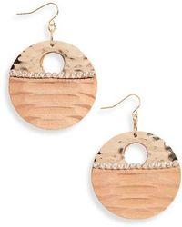 Natasha Couture - Wood & Crystal Drop Earrings - Lyst