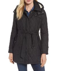 London Fog | Quilted Coat With Faux Shearling Lining | Lyst