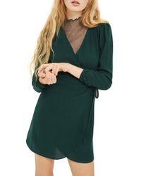 TOPSHOP | Crepe Wrap Minidress | Lyst