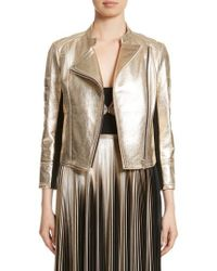 Yigal Azrouël - Foiled Metallic Leather Moto Jacket - Lyst