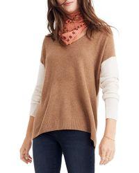51d188b114 Lyst - Madewell Warmlight Colorblock V-neck Sweater