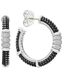 Lagos - Black Caviar Diamond 3-row Hoop Earrings - Lyst
