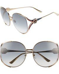 Gucci - 63mm Open Temple Sunglasses - - Lyst