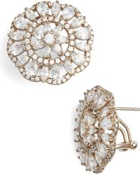 Nina - Sunburst Cubic Zirconia Clip Earrings - Lyst