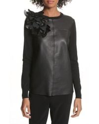 Ted Baker - Leather Front Sweater - Lyst