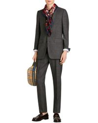 Burberry - Guards Text Silk Square Scarf - Lyst
