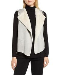 Ming Wang - Embellished Faux Shearling Vest - Lyst