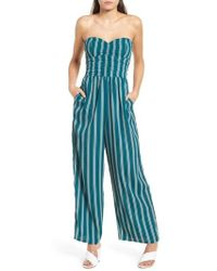 Band Of Gypsies - Stripe Strapless Jumpsuit - Lyst