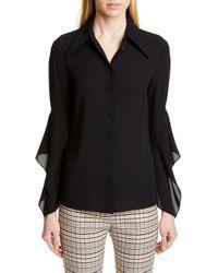 Michael Kors Drape Sleeve Silk Georgette Shirt