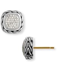 John Hardy - Classic Chain Small Square Pavé Diamond Earrings - Lyst