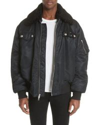 CALVIN KLEIN 205W39NYC - Oversize Bomber Jacket With Genuine Shearling Collar - Lyst