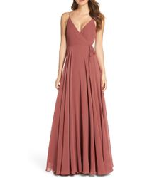 5c2fc6fff4e3 Jenny Yoo - James Sleeveless Wrap Chiffon Evening Dress - Lyst