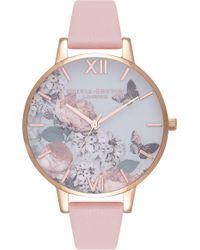 Olivia Burton - Signature Florals Leather Strap Watch - Lyst