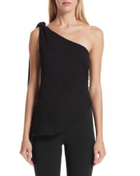 Brandon Maxwell - Pleated Pebble Crepe One-shoulder Top - Lyst