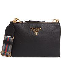848758fd50ff29 Prada - Vitello Daino Double Compartment Leather Crossbody Bag - - Lyst