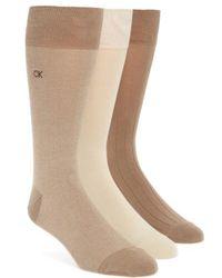 Calvin Klein   3-pack Crew Socks, Beige   Lyst