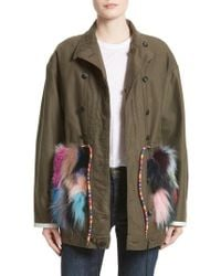 Harvey Faircloth - Reversible Vintage Army Coat With Genuine Fox Fur Trim - Lyst