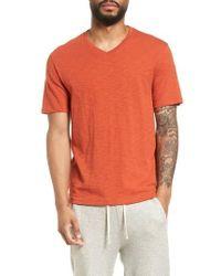 Vince - Slim Fit Slub V-neck T-shirt - Lyst