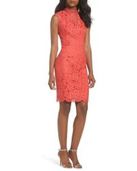 Vince Camuto - Open Back Lace Sheath Dress - Lyst
