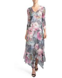Komarov - Handkerchied Hem Floral Maxi Dress - Lyst