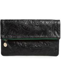 Clare V. - Flower Embossed Foldover Leather Clutch - - Lyst