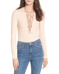 Love, Fire - Lace-up Bodysuit - Lyst