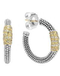 Lagos - 'embrace' Caviar Diamond Hoop Earrings - Lyst