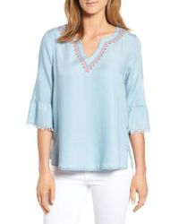 Billy T - Embellished Bell Sleeve Chambray Top - Lyst
