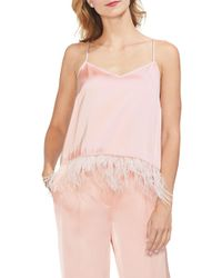 Vince Camuto - Soft Satin Feather Detail Chiffon Camisole - Lyst
