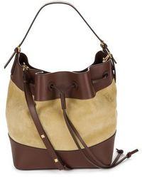 Loewe Midnight Leather & Suede Bucket Bag - Metallic - Brown